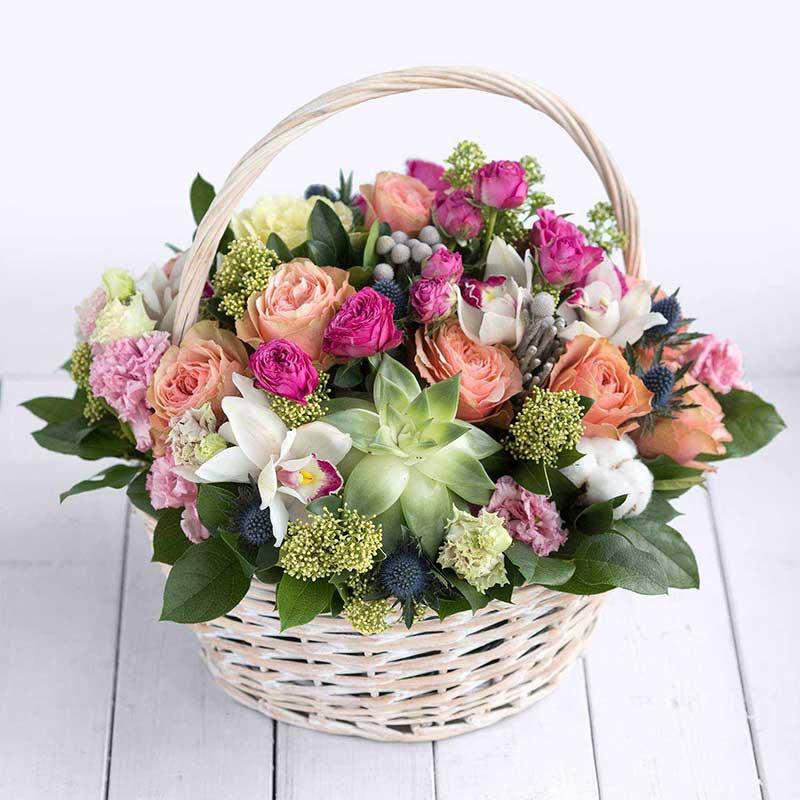 букеты цветов фото в корзинках и коробках